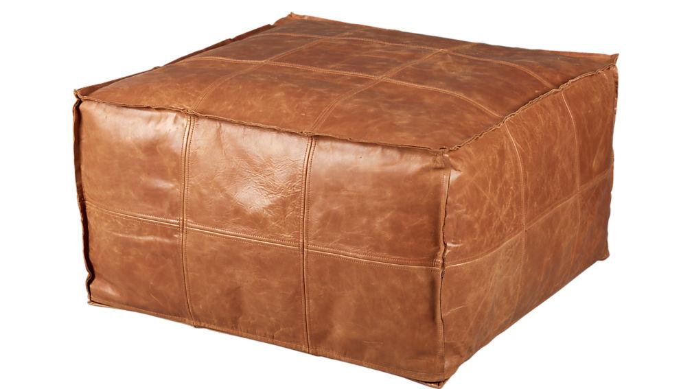 medium square leather ottoman-pouf