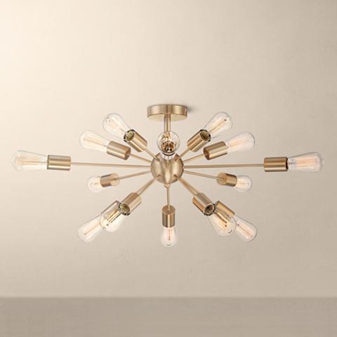 "Possini Euro Hemingson 32"" Wide Edison Gold Ceiling Light"