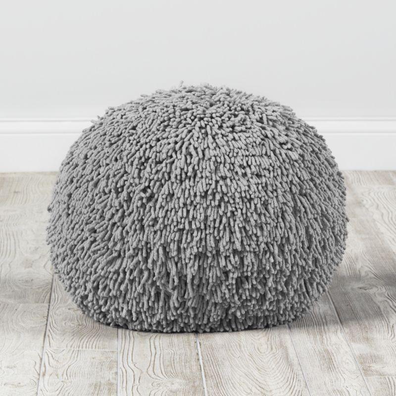 Grey Shaggy Pouf