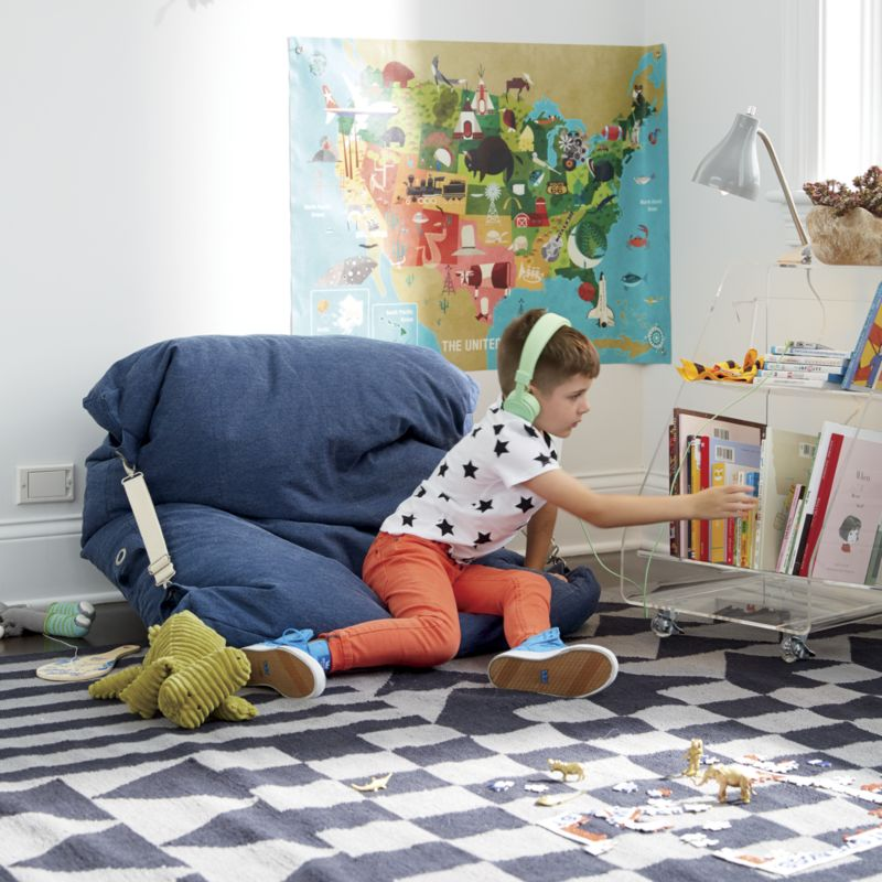 Adjustable Blue Bean Bag Chair