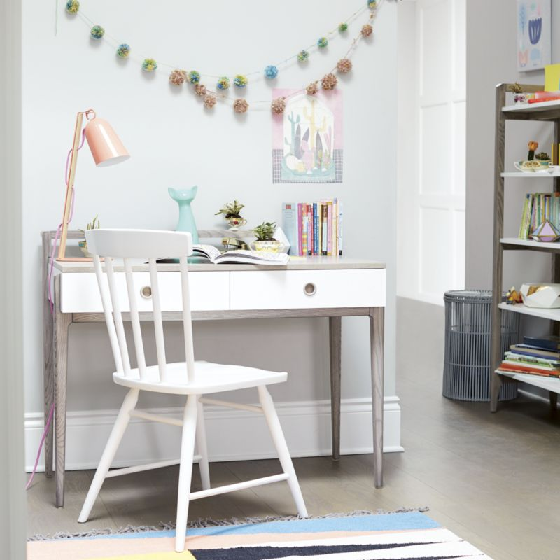 Kids Wrightwood Grey Stain and White Desk