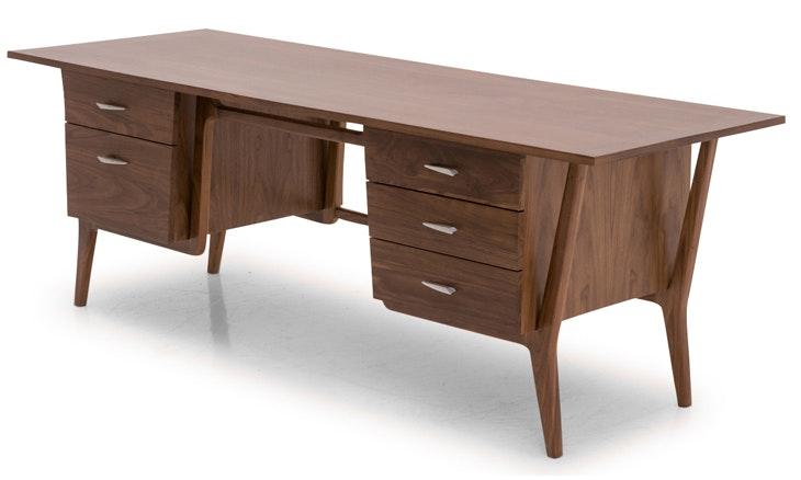 Xavier Mid Century Modern Desk - Walnut