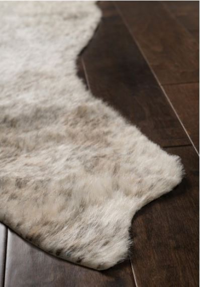 Winsley Faux Cowhide Rug, Ivory and Grey