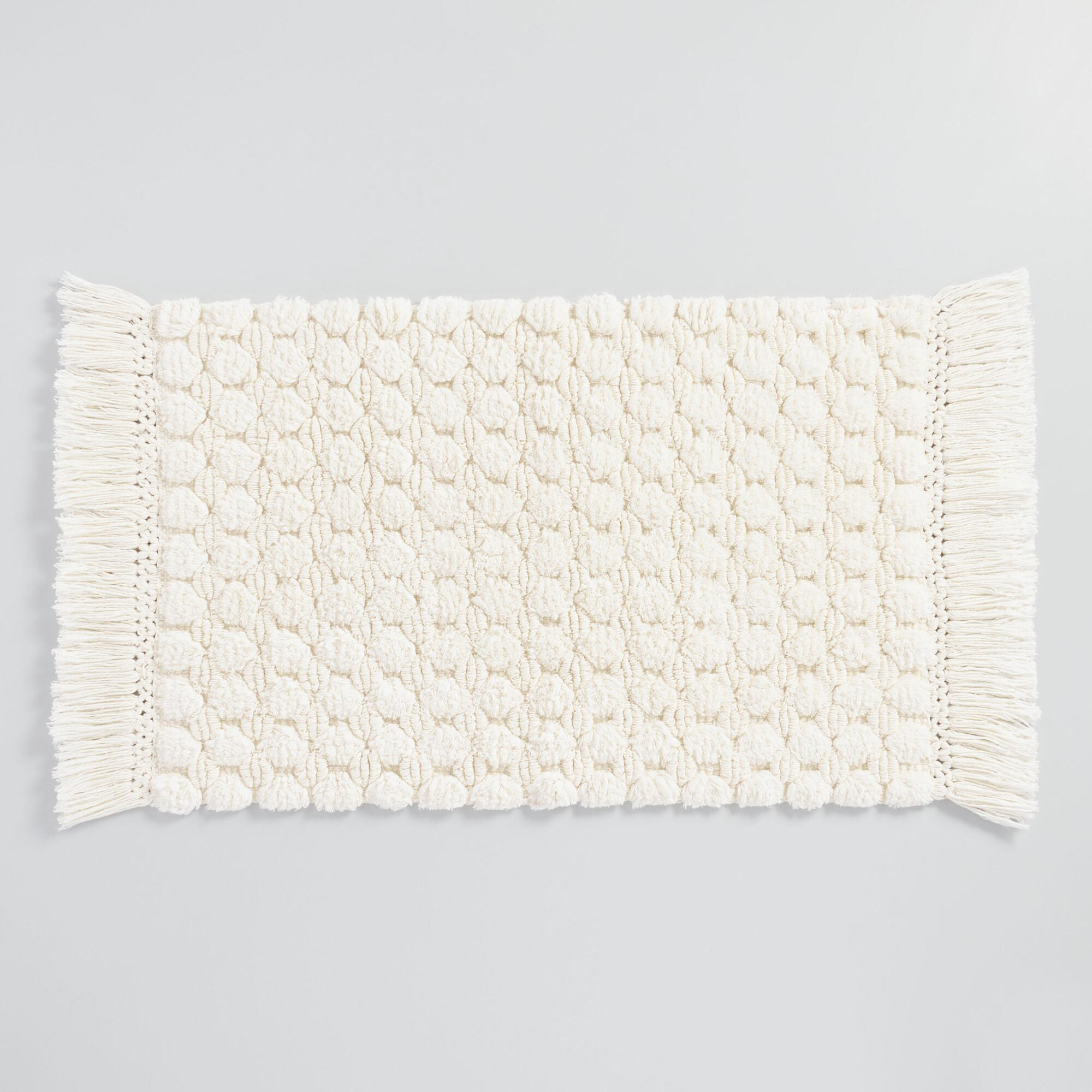 Ivory Woven Dot Bath Mat White Cotton By World Market World Market Cost Plus