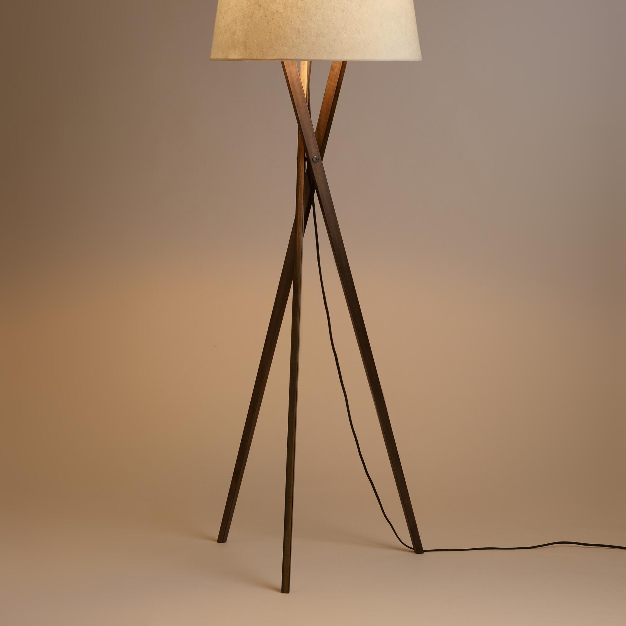 Walnut Wood Tripod Austin Floor Lamp