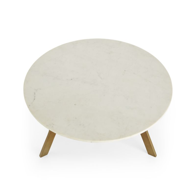 Elke Round Marble Coffee Table with Brass Base