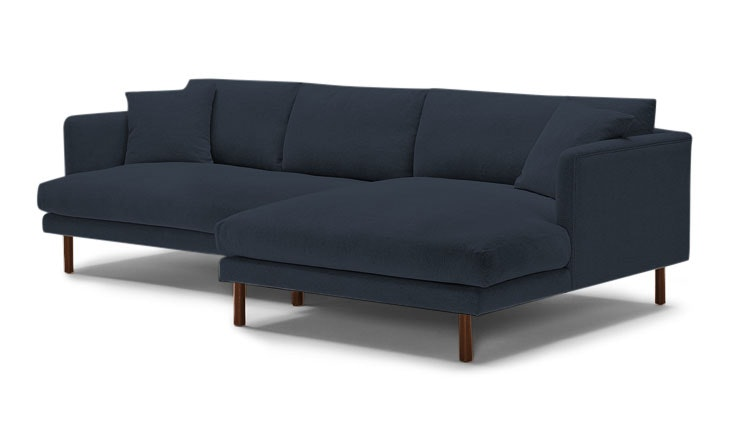 Blue Lewis Mid Century Modern Sectional - Chance Denim - Mocha - Right - Cone Legs