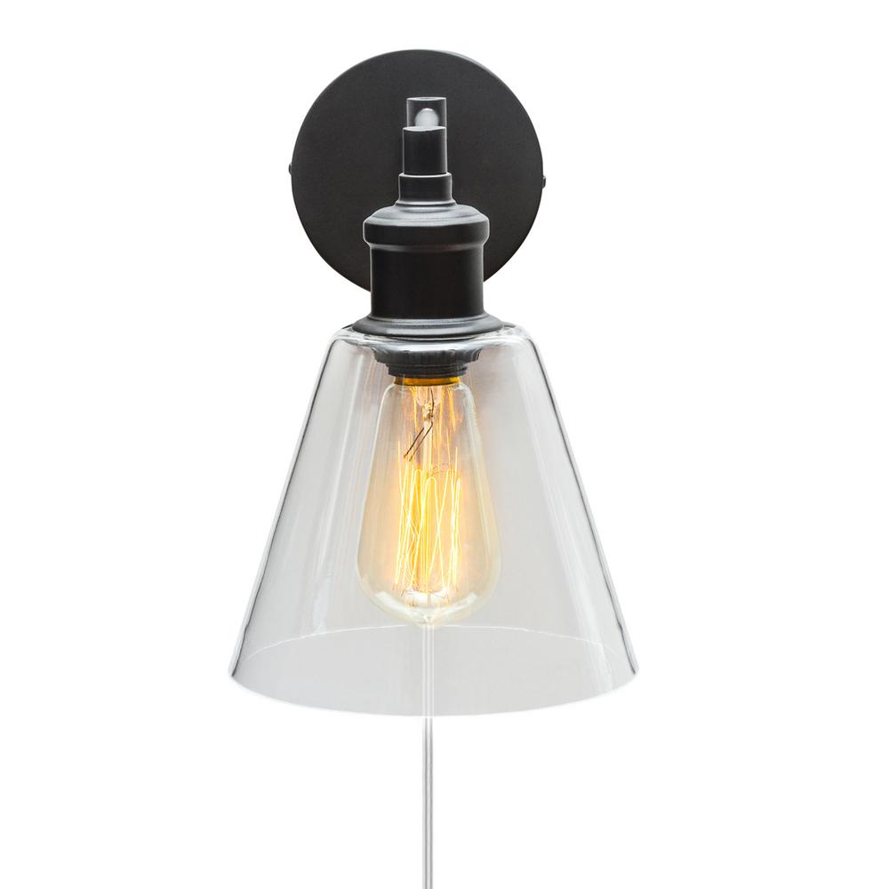 Globe Electric LeClair 1-Light Dark Bronze Plug-In or Hardwire Industrial Wall Sconce