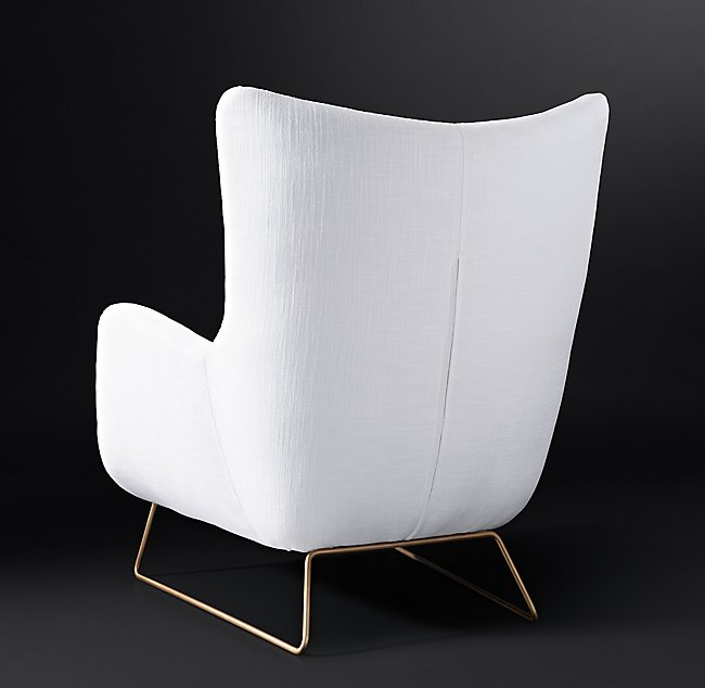 LIAM FABRIC CHAIR - Belgian Linen White Brass