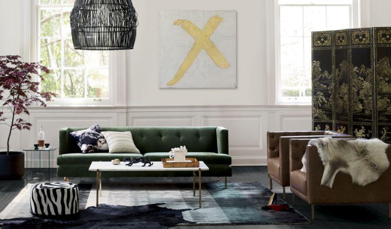 Avec Emerald Green Sofa with Brass Legs