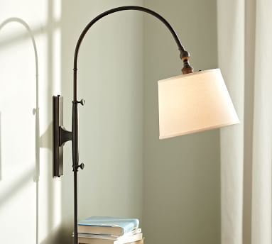CFL Adjustable Arc Plug-In Sconce with Plug-In Sconce with Burlap Shade, Antique Bronze finish