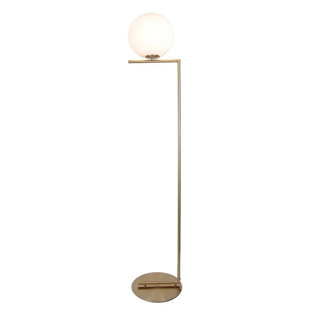 EQLight Mid Century 62 in. Satin Brass Floor Lamp with Glass Shade