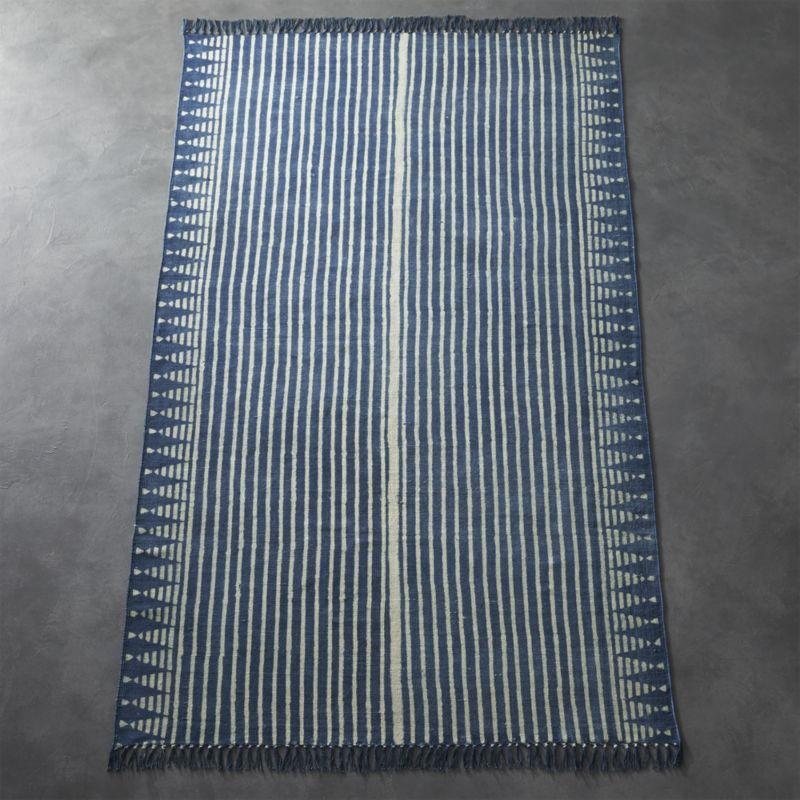 Verso Indigo Blue Striped Rug 5'x8'