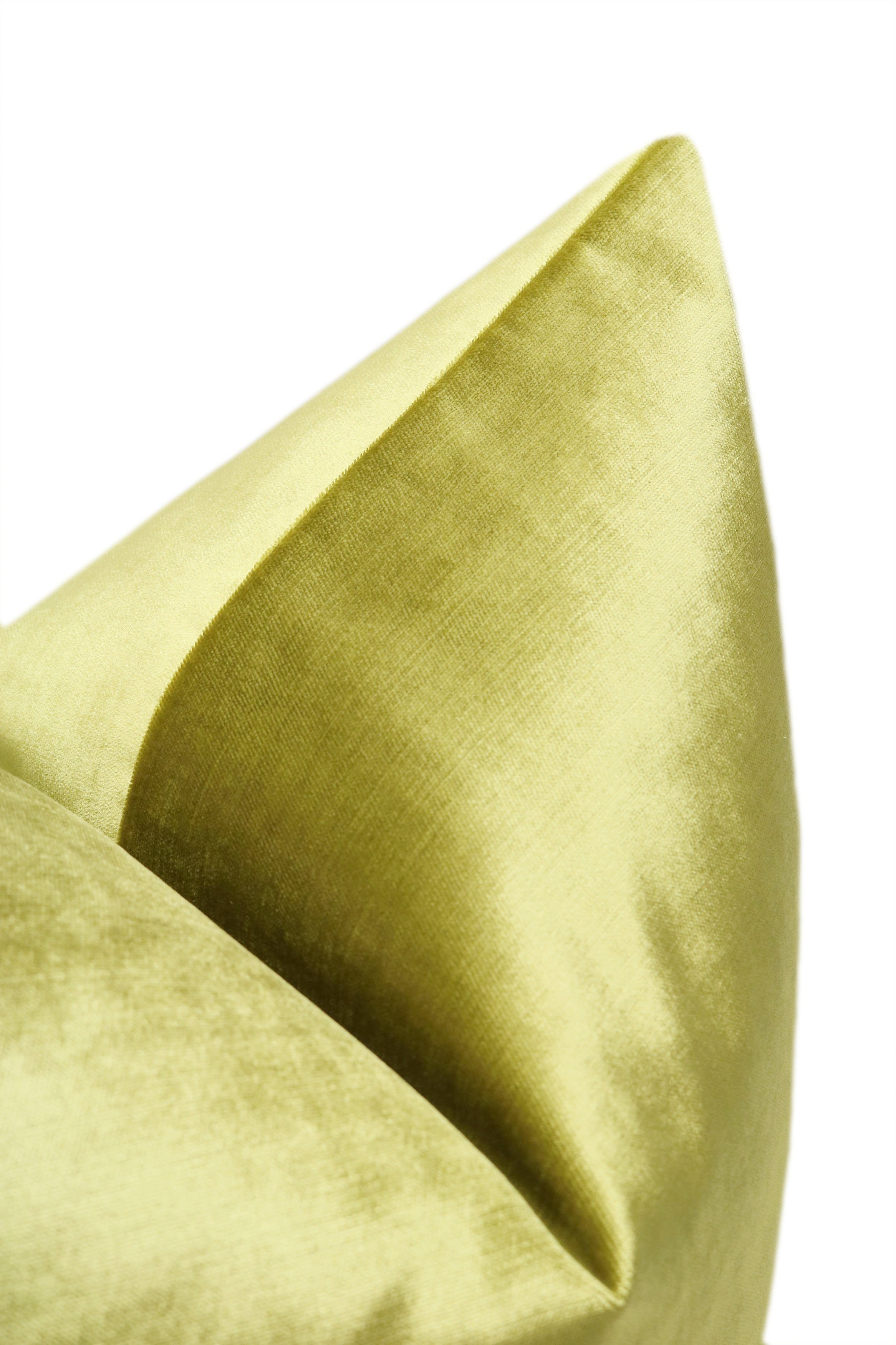 "Faux Silk Velvet // Chartreuse - 20"" X 20"""