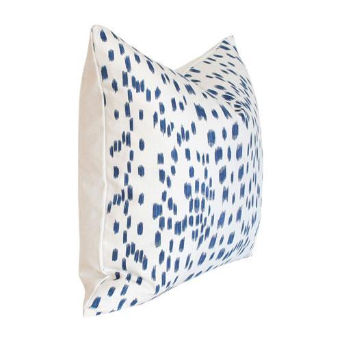 Les Touches Blue - 22x22 pillow cover / pattern on front, solid on back