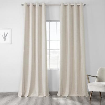 Exclusive Fabrics & Furnishings Natural Light Beige Vintage Thermal Cross Linen Weave Max Blackout Grommet Curtain - 50 in. W x 84 in. L (1 Panel)