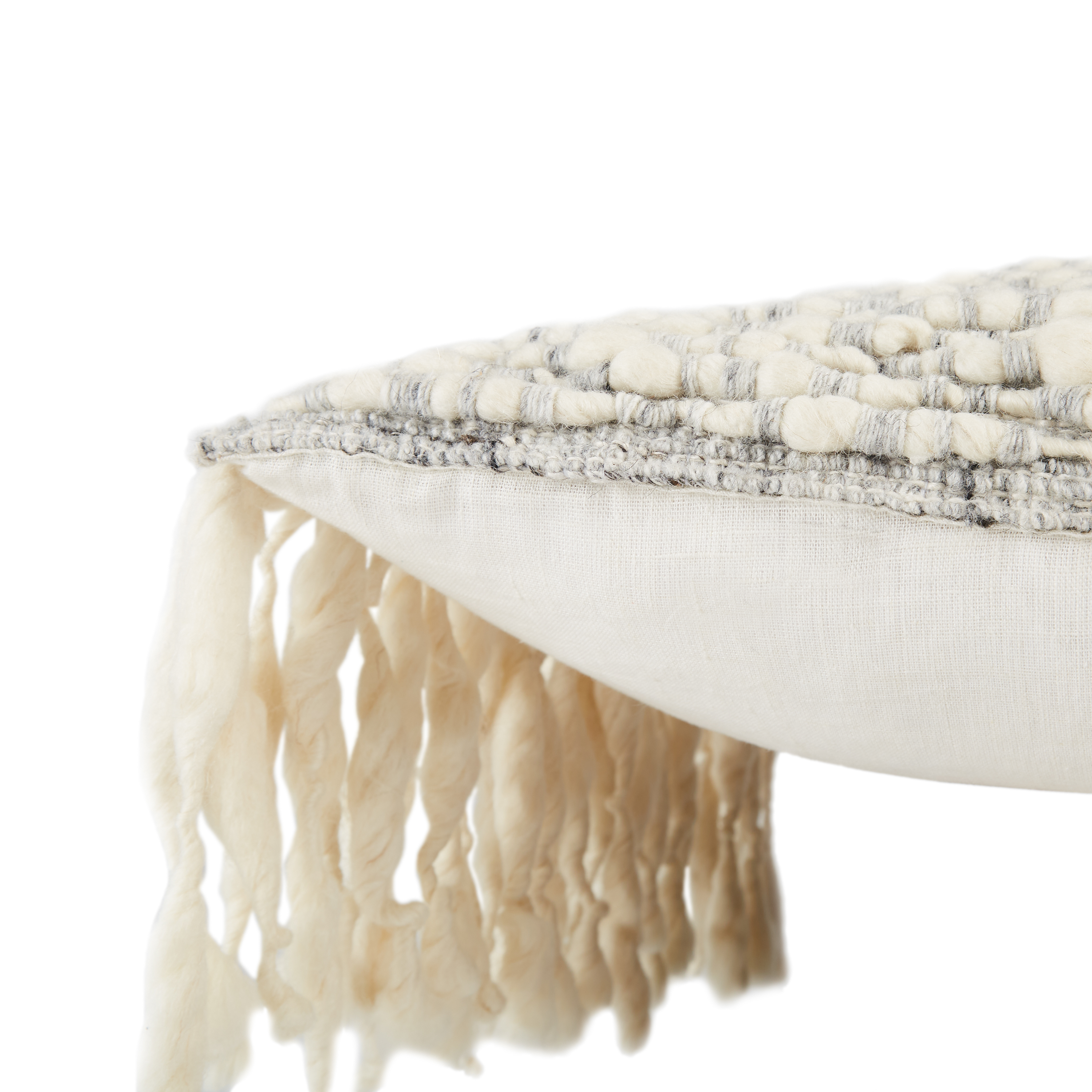 """Mahya Fringe Pillow with Polyester Fill, Ivory, 22"""" x 22"""""""