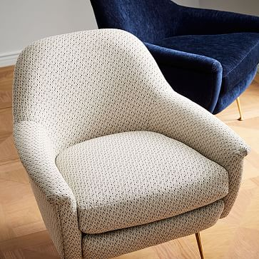 Phoebe Midcentury Chair, Poly, Performance Velvet, Ink Blue, Pecan
