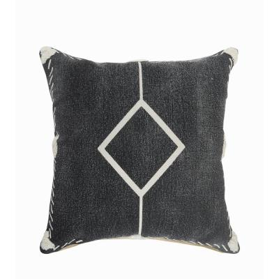 LR Home Tufted Edges Black / White Diamond Cozy Poly-Fill 20 in. x 20 in. Throw Pillow
