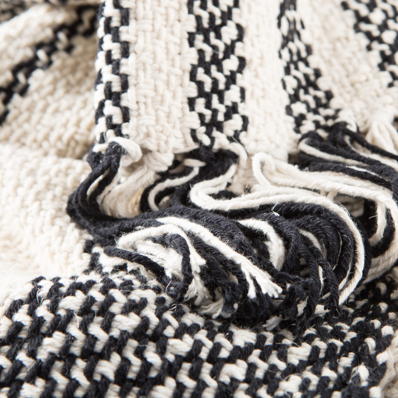 Notre Striped Black / White Throw