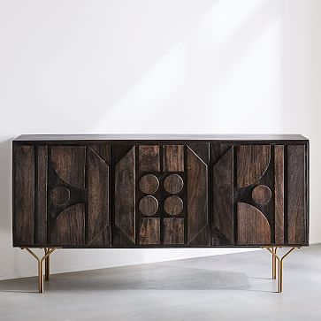 "Pictograph Buffet, Mango Wood, Carbon, 58"""