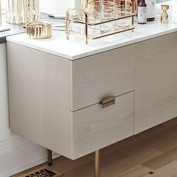 """Delphine Buffet, Marble/Wood, Feather Gray, 63"""""""