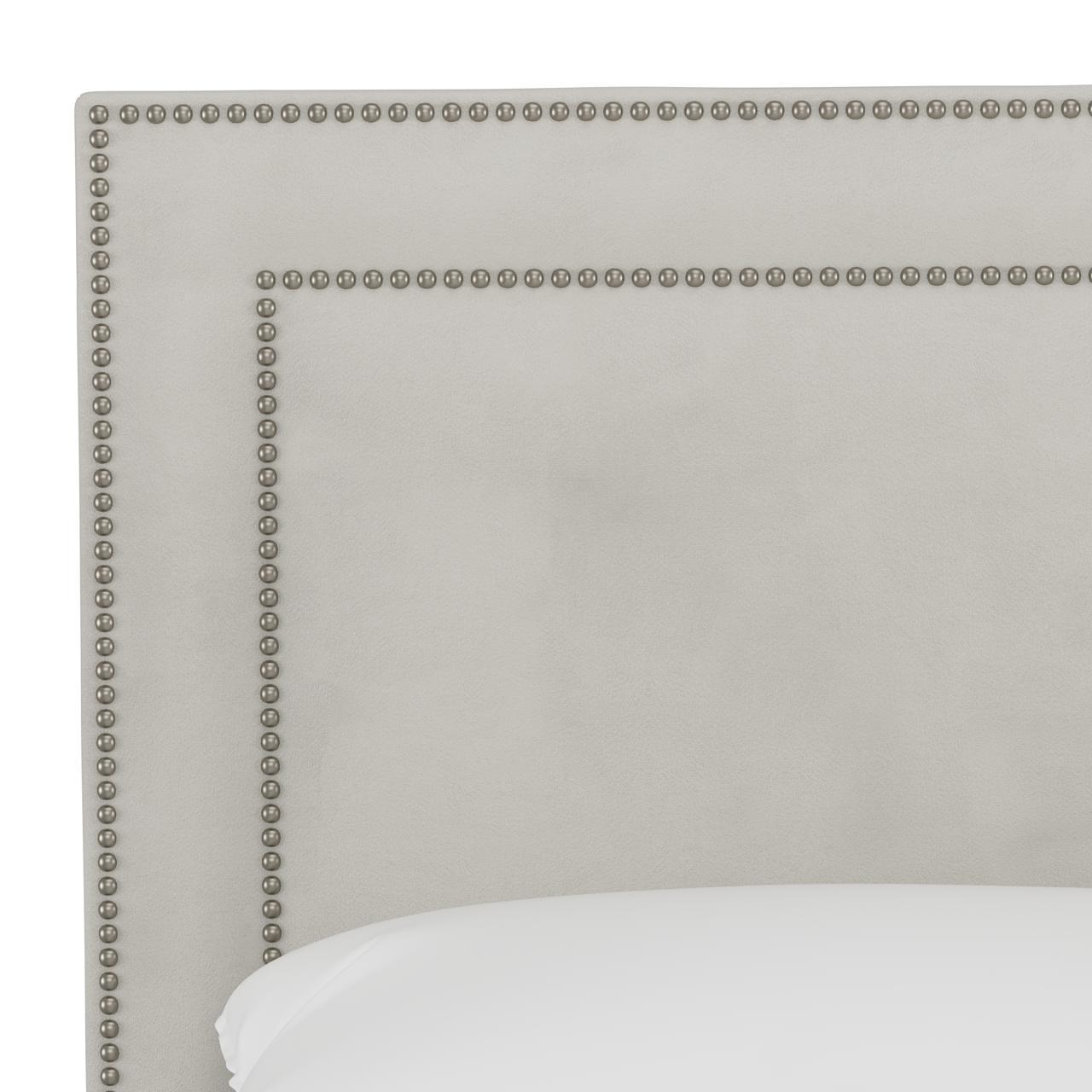 Williams Bed, Queen, Velvet Light Grey, Pewter Nailheads