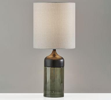 "Stephe Glass Table Lamp, Small 16.25"", Black"
