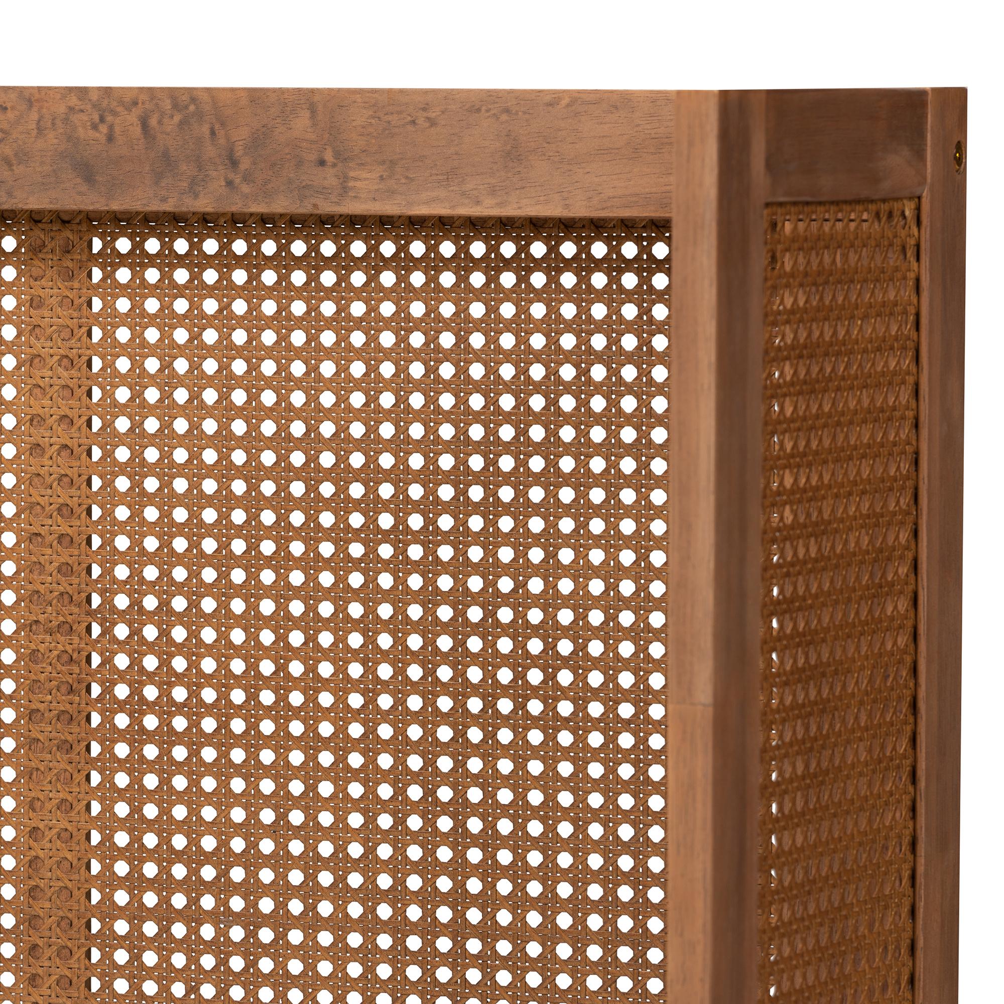 Rina Mid-Century Modern Ash Wanut Finished Wood and Synthetic Rattan King Size Wrap-Around Headboard