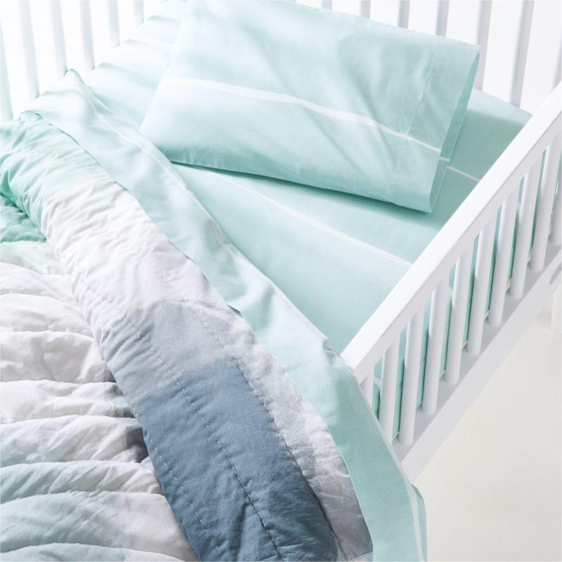 Organic Blue Brushstroke Crib Quilt