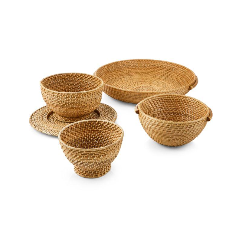Artesia Natural Rattan Bowl with Handles