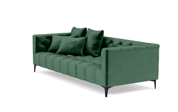 Ms. Chesterfield Sofa with Green Malachite Fabric and Matte Black legs