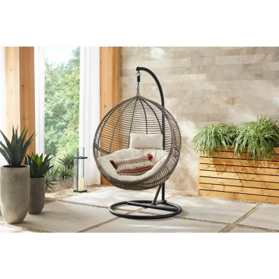 Hampton Bay Egg Shaped 1-Person Wicker Outdoor Patio Swing with Biscuit Cushions