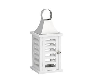 Shutter Mango Wood Lantern, White, Large