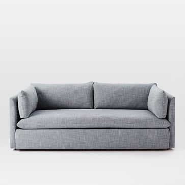 """Shelter 92"""" Sofa, Poly, Performance Washed Canvas, White, Concealed Supports"""