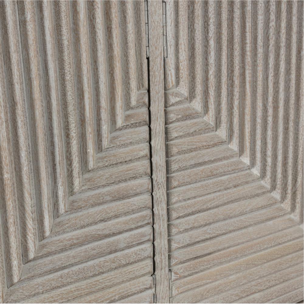 Sam Global Bazaar White Washed Mango Wood Black Iron Base 4 Door Sideboard