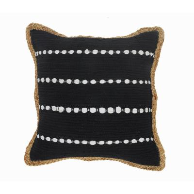 LR Home Kone Black and White Border Striped Textured Poly-fill 18 in. x 18 in. Throw Pillow