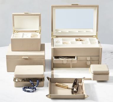 """Quinn Jewelry Box, Large 13"""" x 9.25"""", Fawn, Foil Debossed"""