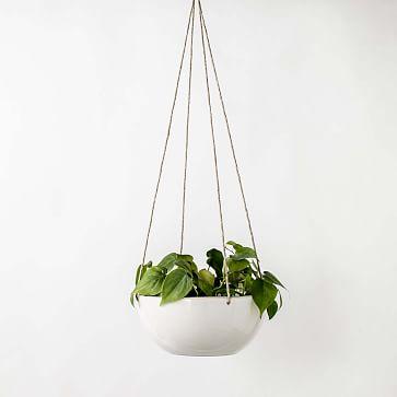 Minimal Hanging Planter Stoneware/Glaze IVory White 9 Inch