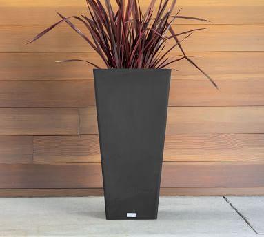 "Hevea Tapered Cube Tall Planter, Black - 28"""