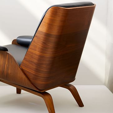 Paulo Bent Lounge Chair, Parc Leather, Black