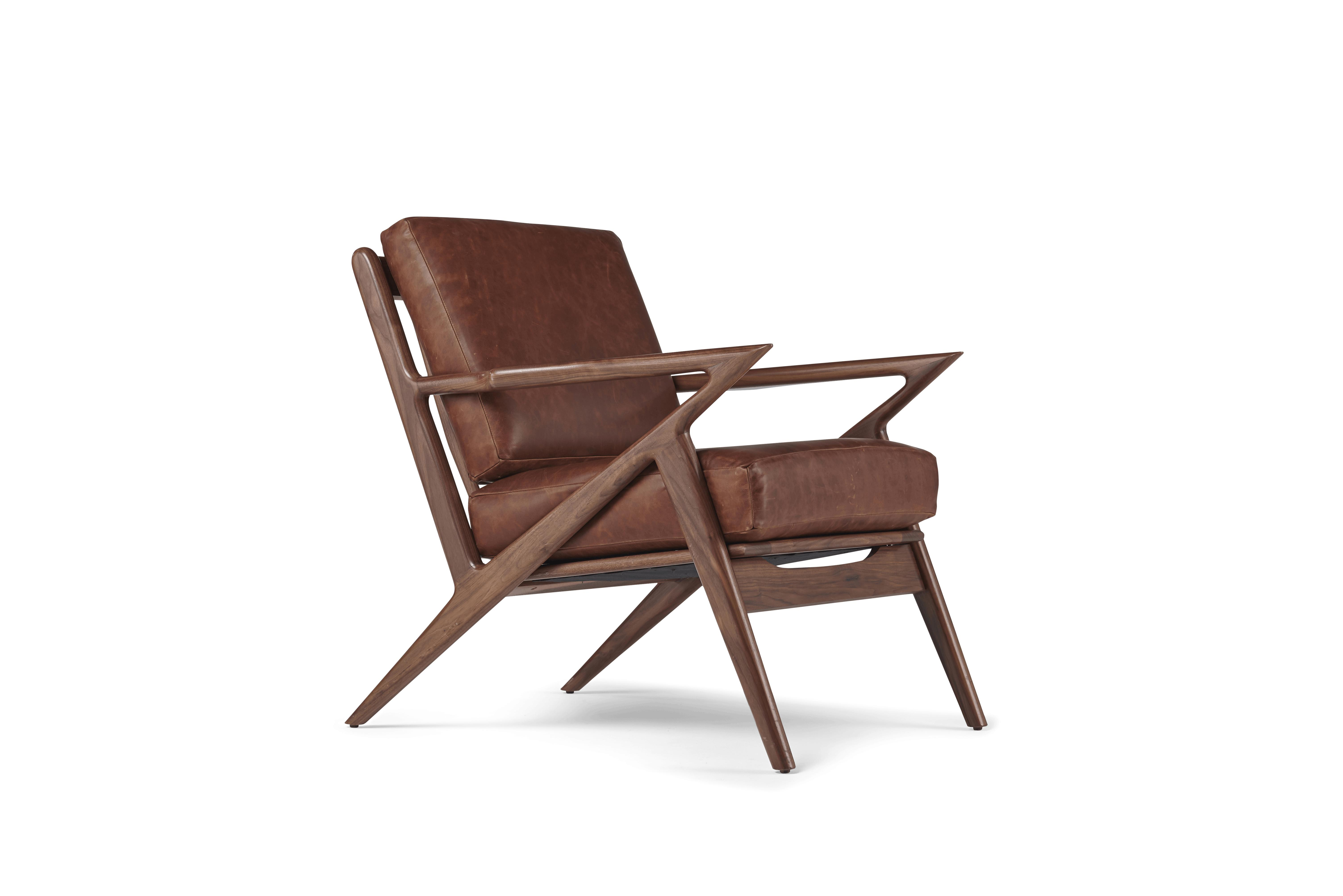 Brown Soto Mid Century Modern Leather Chair - Academy Cuero - Walnut