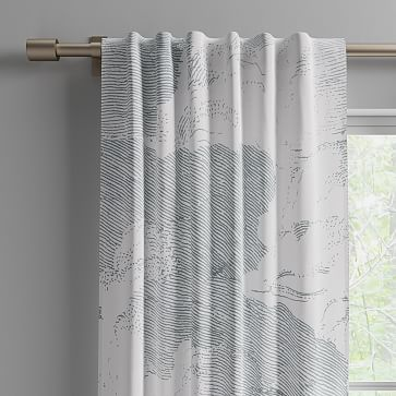 """Cotton Canvas Etched Cloud Curtains, 48""""x84"""", Washed Gemstone (Set of 2)"""