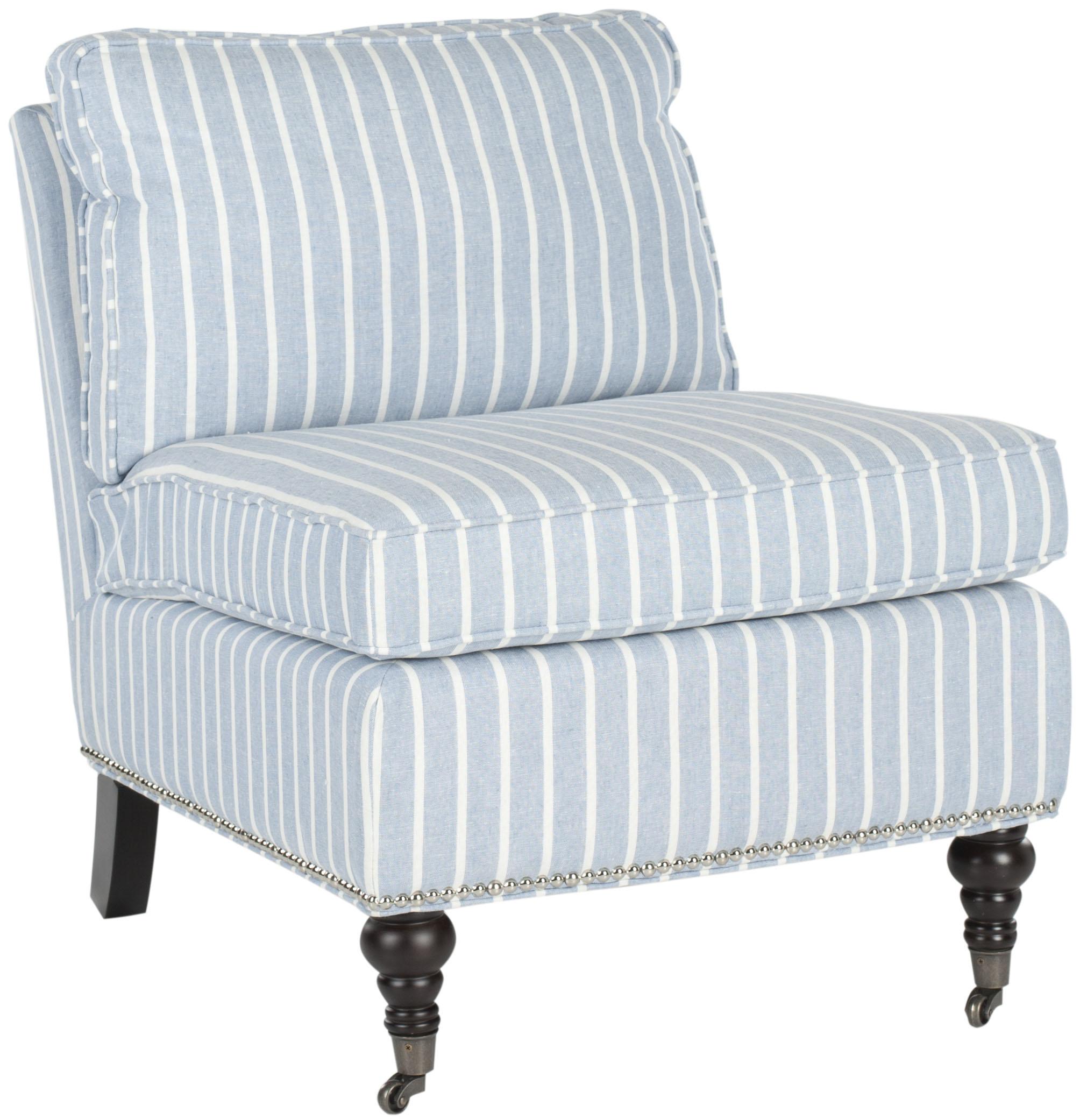 Randy Slipper Chair - Blue/White/Espresso - Arlo Home