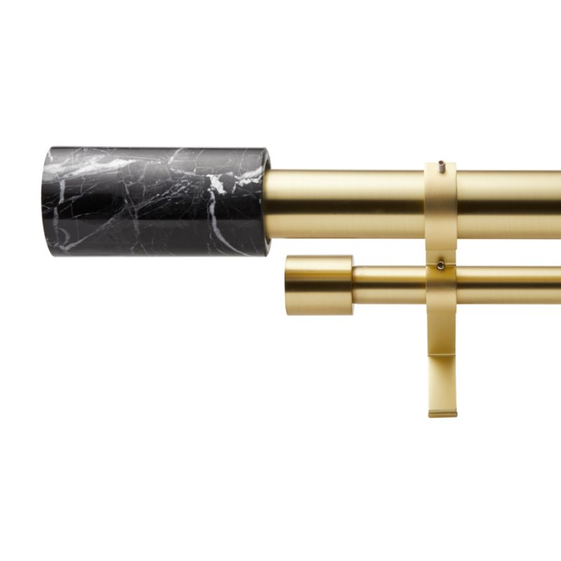 """Brushed Brass with Black Marble Finial Double Rod Curtain Rod Set 88""""-120"""""""