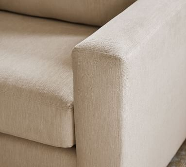 Shasta Square Arm Upholstered Left Sofa Return Bumper Sectional, Polyester Wrapped Cushions, Performance Brushed Basketweave Sand