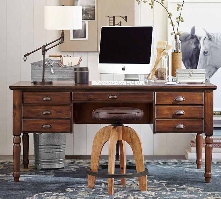 Printer's Keyhole Desk, Tuscan Chestnut