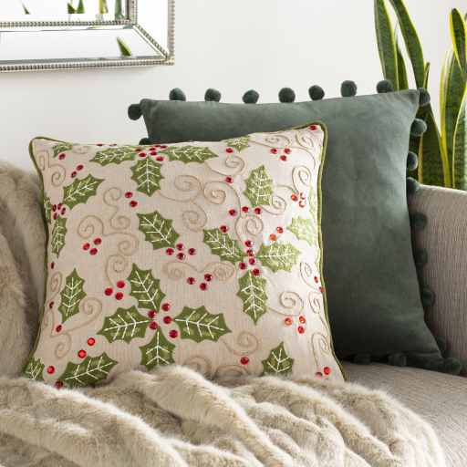 """Holly Berry - HBY-001 - 20"""" x 20"""" - pillow cover only"""