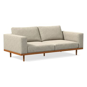 "Newport 84"" Sofa Toss Back Cushion, Down, Performance Coastal Linen, Dove, Pecan"