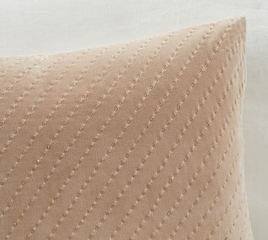 "Ceres Velvet Pickstitch Lumbar Pillow Cover, 14 x 20"", Taupe"